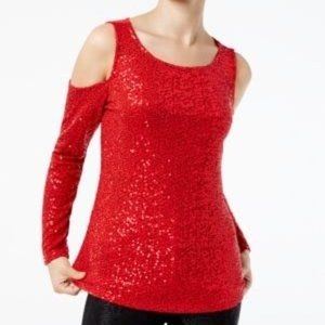 !!~Real Red Sequin Cold-Shoulder Top~!!